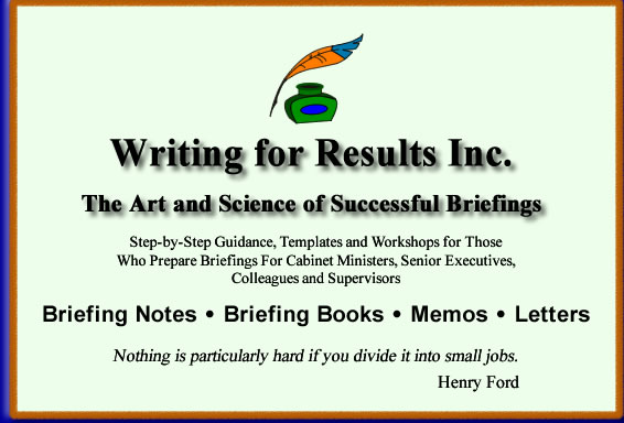 Briefing Notes and Briefing Books:  Guidance and Templates